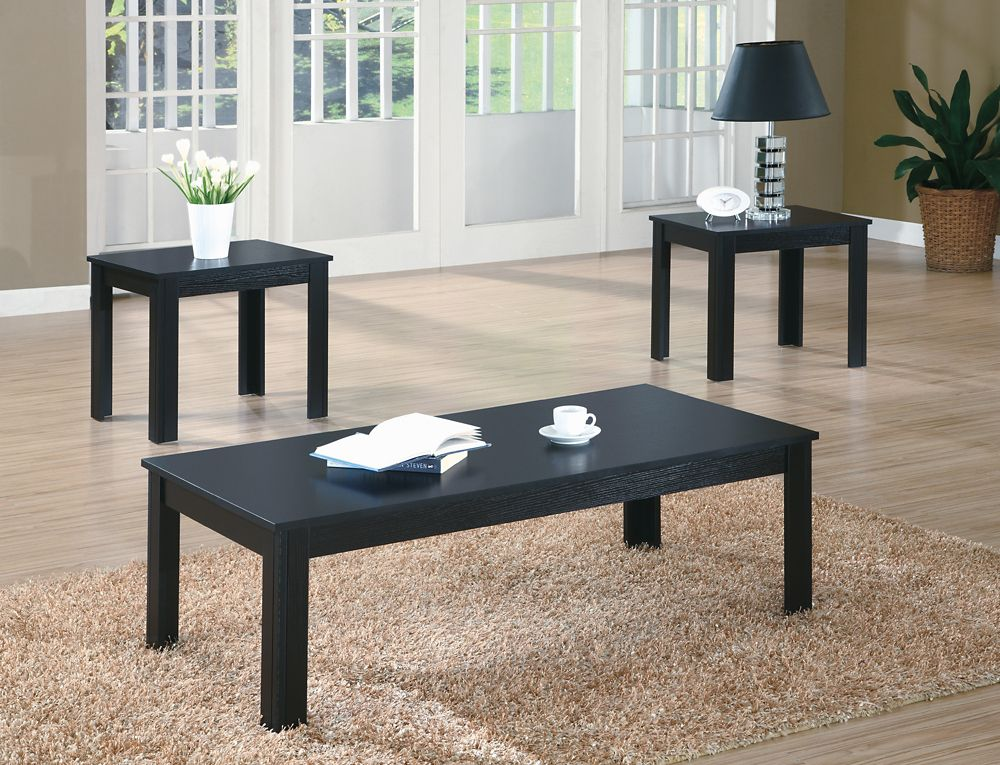 Monarch Specialties Table Set - 3pcs Set / Black