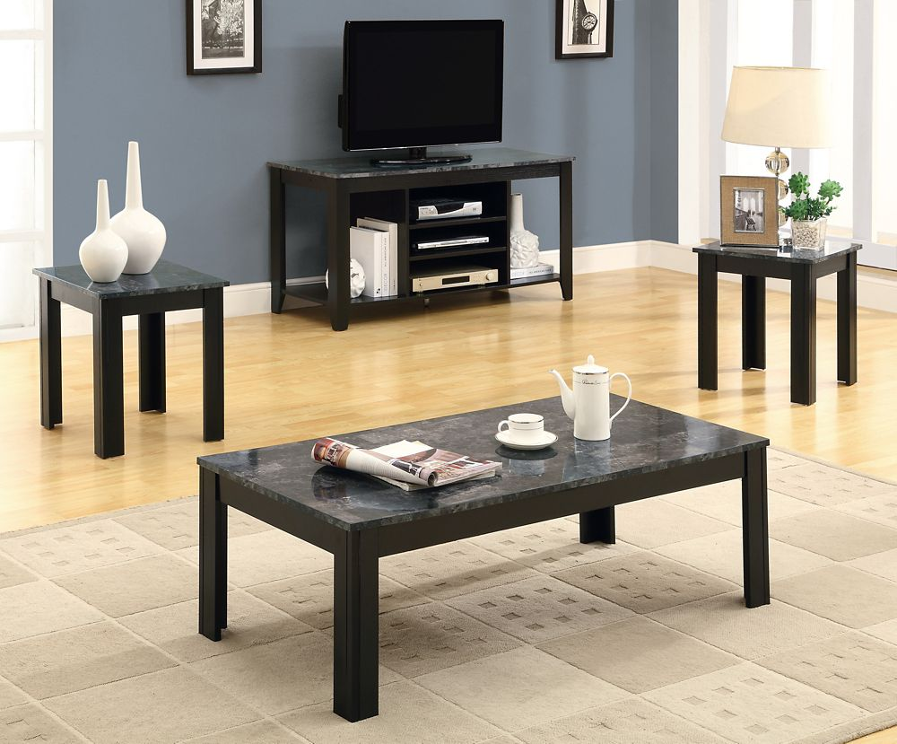 Table Set 3 Piece Black Grey Marble Look Top