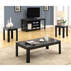 Monarch Specialties Table Set - 3-Piece Set / Black / Grey Marble-Look Top