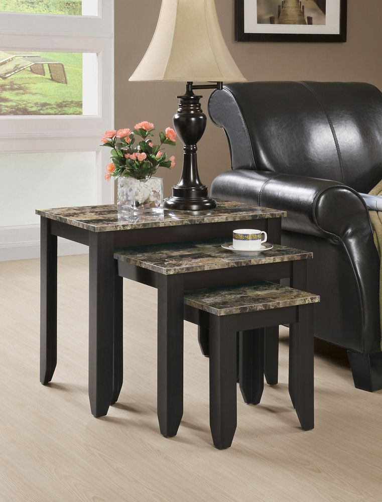 Monarch Specialties Nesting Table - 3pcs Set / Cappuccino Marble Top