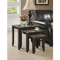 Monarch Specialties Nesting Table - 3-Piece Set / Cappuccino Marble Top