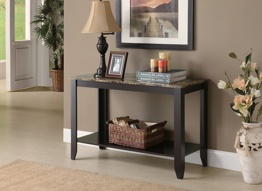 Monarch Specialties Console Table - 44 Inch L / Cappuccino Marble Top