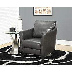 Monarch Specialties Contemporary Faux Leather Accent Chair in Grey with Solid Pattern