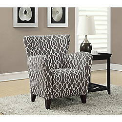 Monarch Specialties Contemporary Club Cotton Accent Chair in Brown with Geometrical Pattern