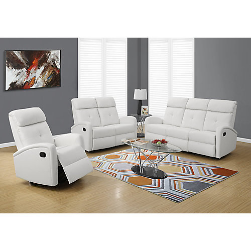 Fauteuil Inclinable - Bercant / Cuir Reconstitue Blanc