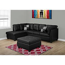 Monarch Specialties Faux Leather Ottoman in Black