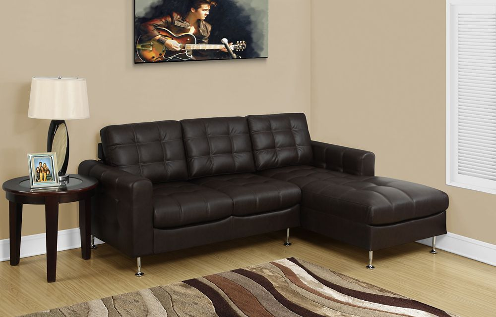 Monarch Specialties Sofa Lounger - Dark Brown Bonded Leather