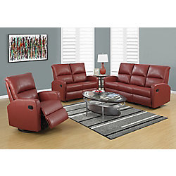 Monarch Specialties Reclining - Love Seat Red Bonded Leather