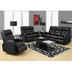 Monarch Specialties Inclinable Causeuse Cuir Reconstitue Noir