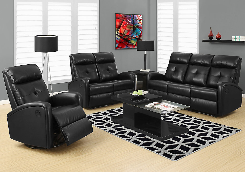Remarkable Reclining Sofa Black Bonded Leather Home Remodeling Inspirations Basidirectenergyitoicom