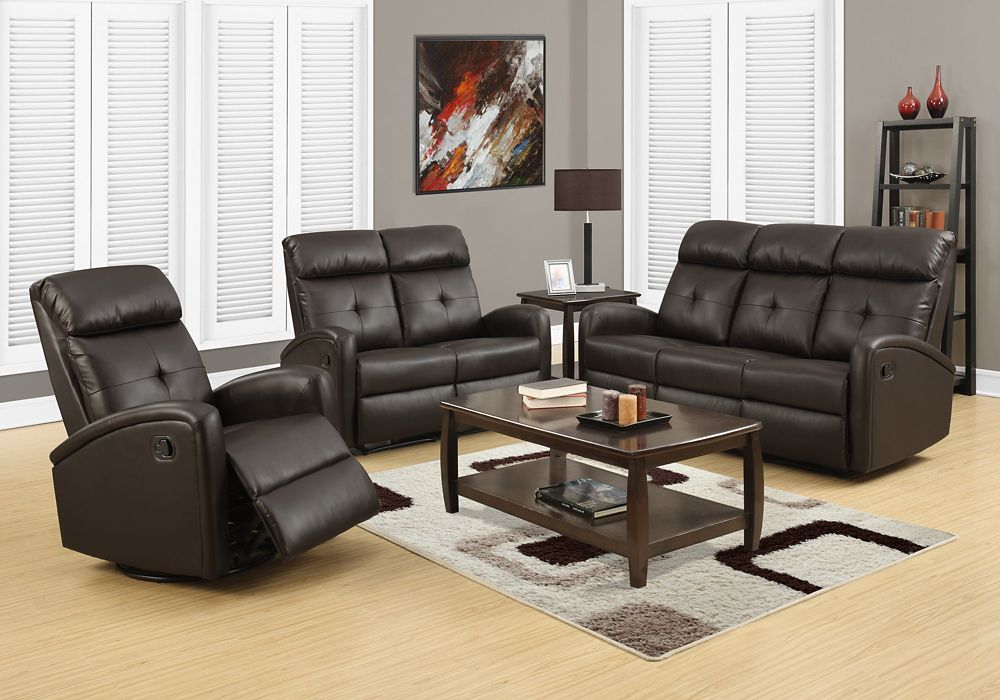 Monarch Specialties Reclining - Sofa Dark Brown Bonded Leather