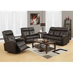 Monarch Specialties Reclining - Sofa Dark Brown Bonded Leather