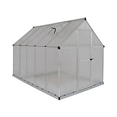 Deluxe 6 ft. x 10 ft. Twin Wall Greenhouse in Silver