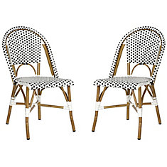 Salcha Indoor/Outdoor Stacking Side Chair in Black/White (Set of 2)