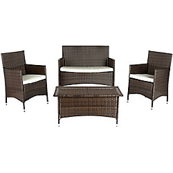 Safavieh Mojavi 4-Piece Patio Conversation Set in Brown