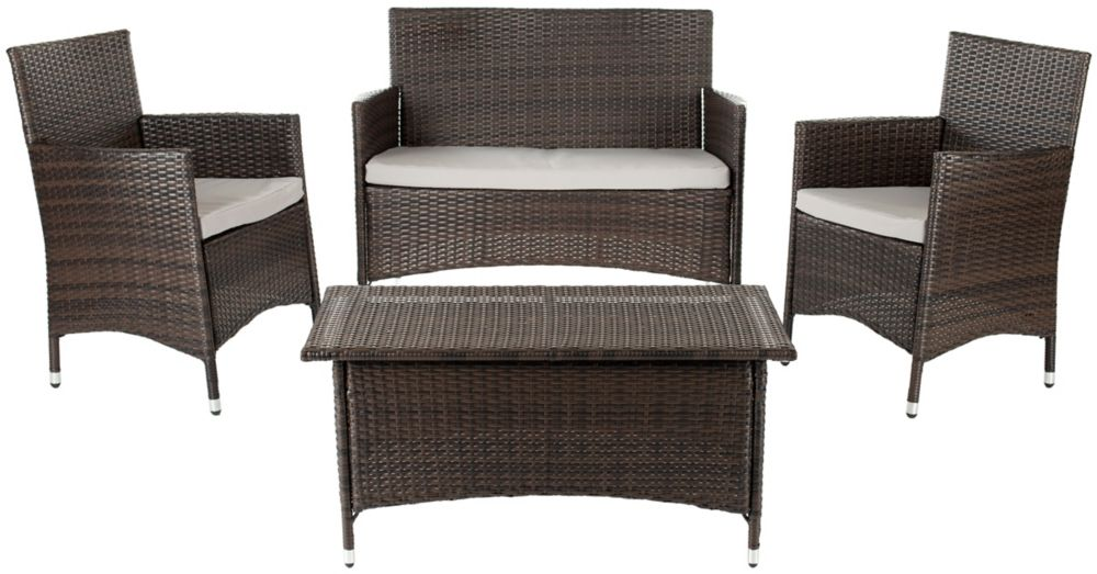 Safavieh Mojavi 4-Piece Patio Conversation Set in Coffee Brown