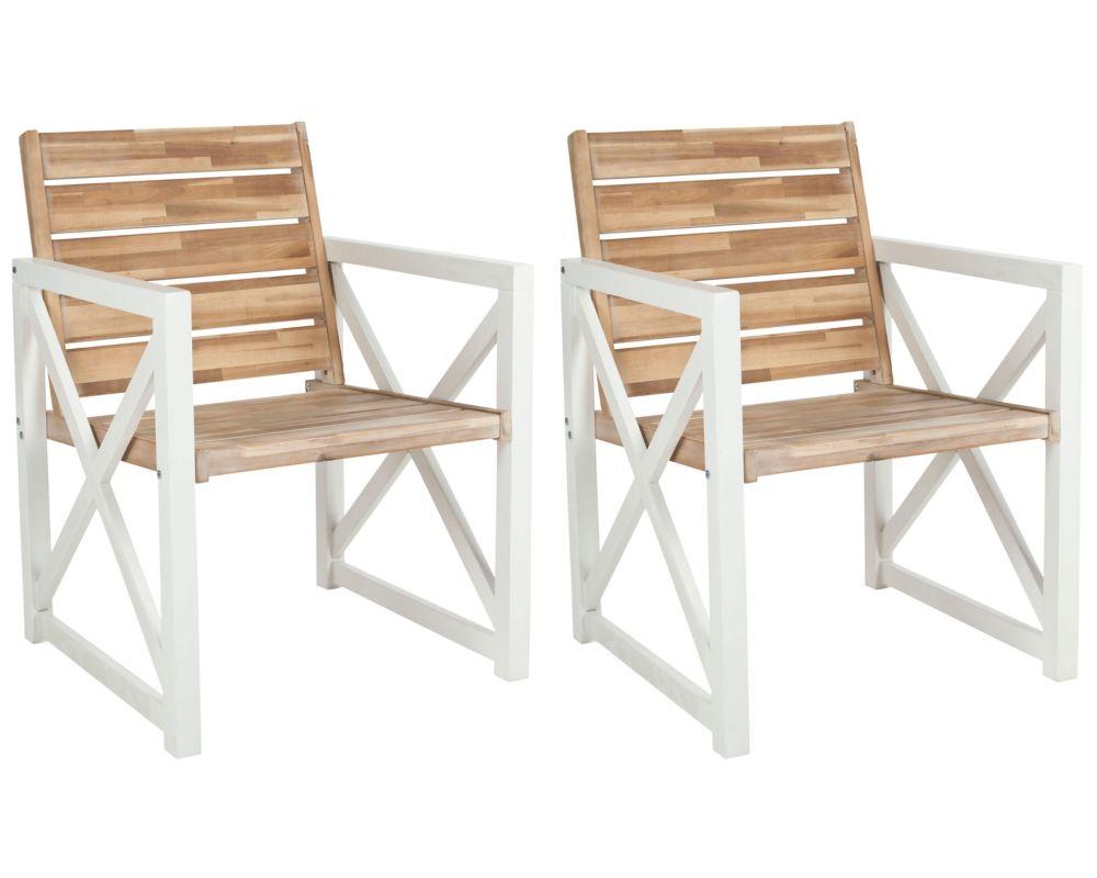 Safavieh Irina Patio Arm Chair in White/Oak (Set of 2)