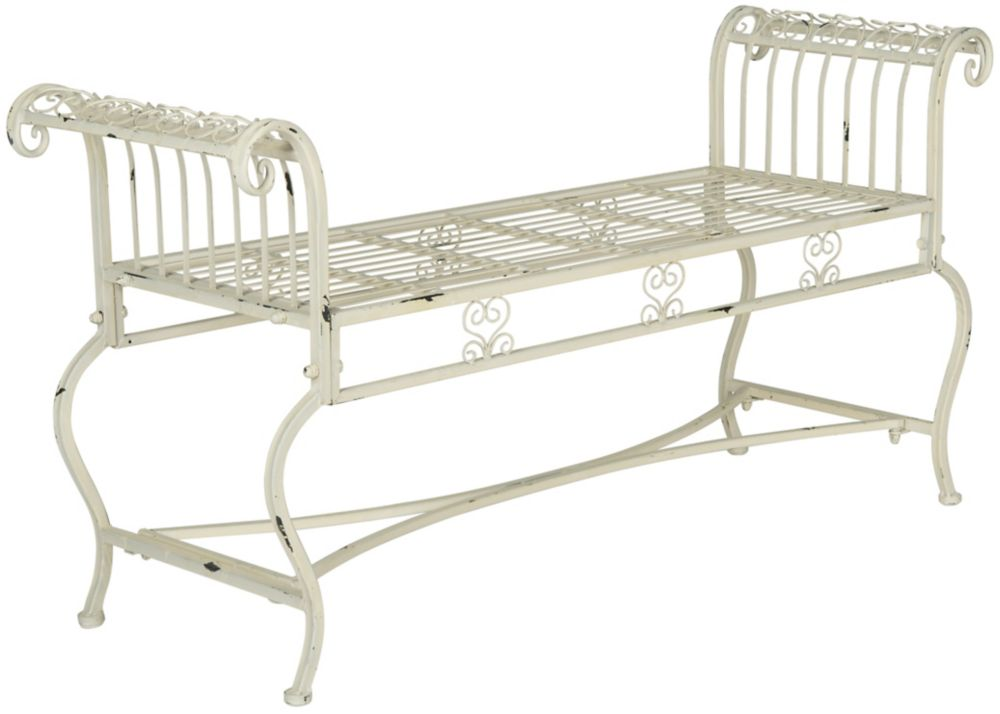 Safavieh Brielle Patio Bench in Antique White