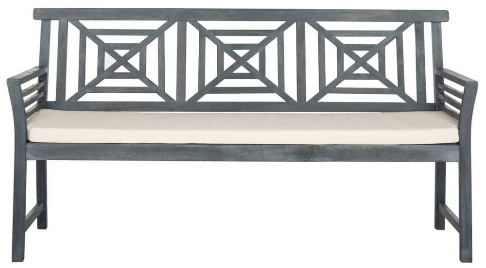 Safavieh Del Mar 3-Seat Bench in Ash Grey/Beige
