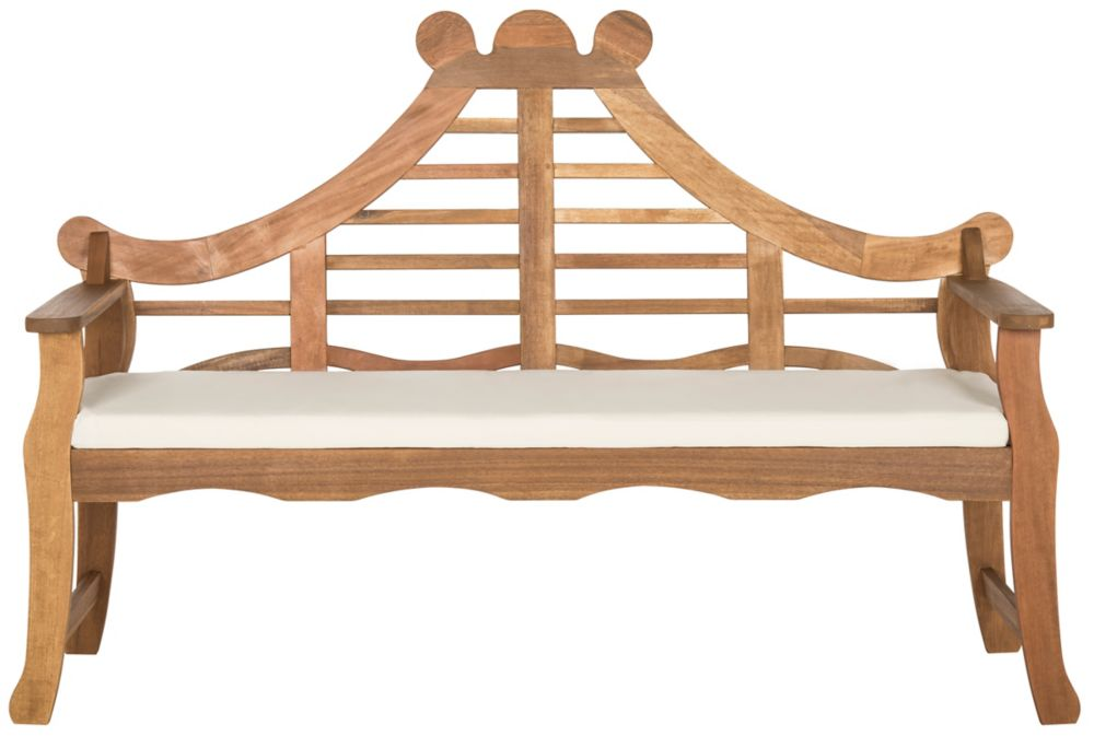Safavieh Azusa Bench in Teak Brown/Beige