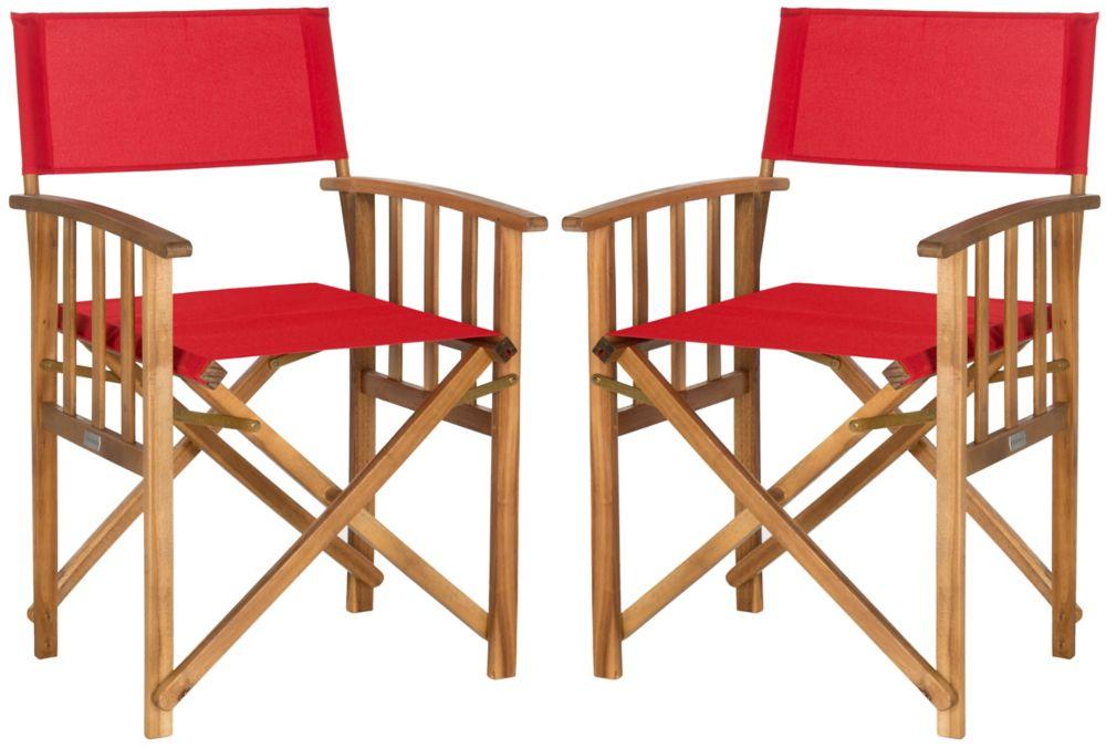 Safavieh Lagunda Patio Director Chair in Teak/Red (Set of 2)