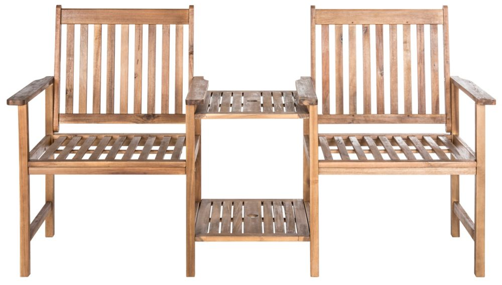 Safavieh Brea Twin Seat Bench in Teak Brown