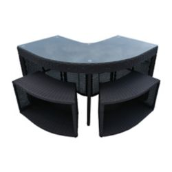 Canadian Spa Company Table de Bar de Coin & 2 Tabourets - Square Spa Surround Furniture