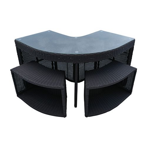 Canadian Spa Company Corner Bar & 2 Stools - Square Spa Surround Furniture