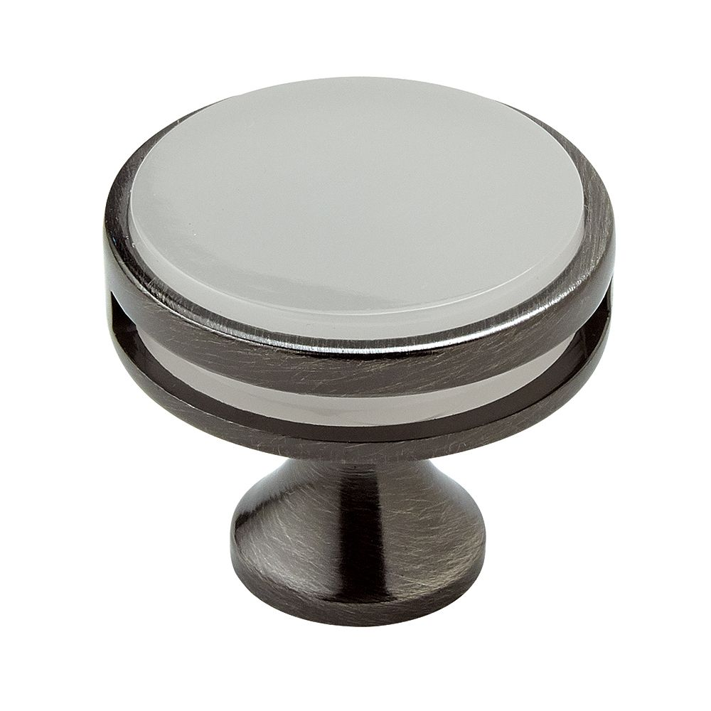 Oberon 1-3/8 Inch (35mm) DIA Knob - Gunmetal/Frosted