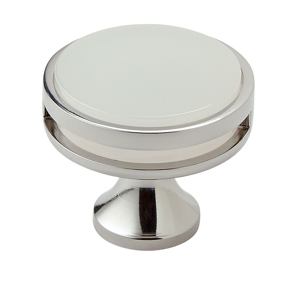 Oberon 1-3/8 Inch (35mm) DIA Knob - Polished Nickel/Frosted