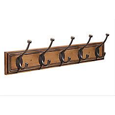 Decorative 5-Hook Rack 27 Inch (686mm) - Honey Pine/Oil-Rubbed Bronze