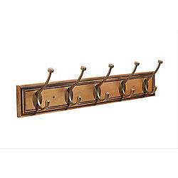 Amerock Decorative 5-Hook Rack 27 Inch (686mm) - Honey Pine/Gilded Bronze