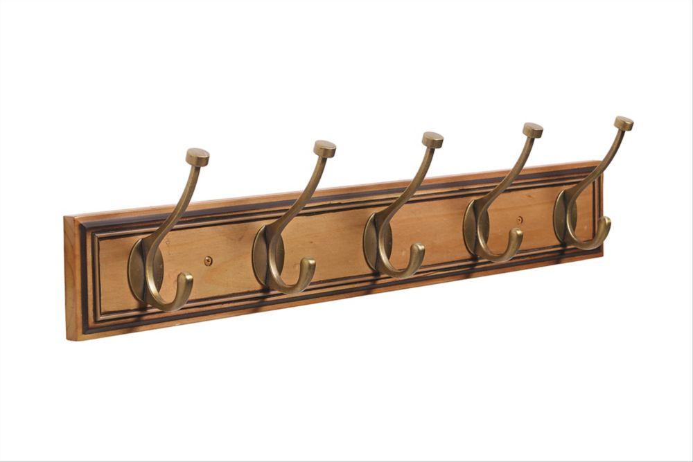 Amerock Decorative 5-Hook Rack 27 Inch (686mm) - Honey Pine/Gilded Bronze