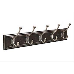 Amerock Decorative 5-Hook Rack 27 Inch (686mm) - Mahogany/Antique Silver