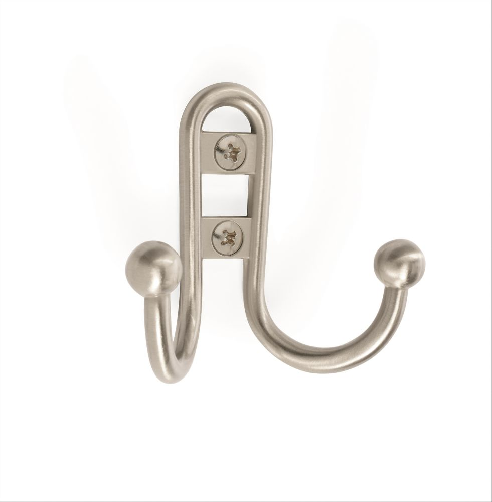 Double Prong Hook - Satin Nickel