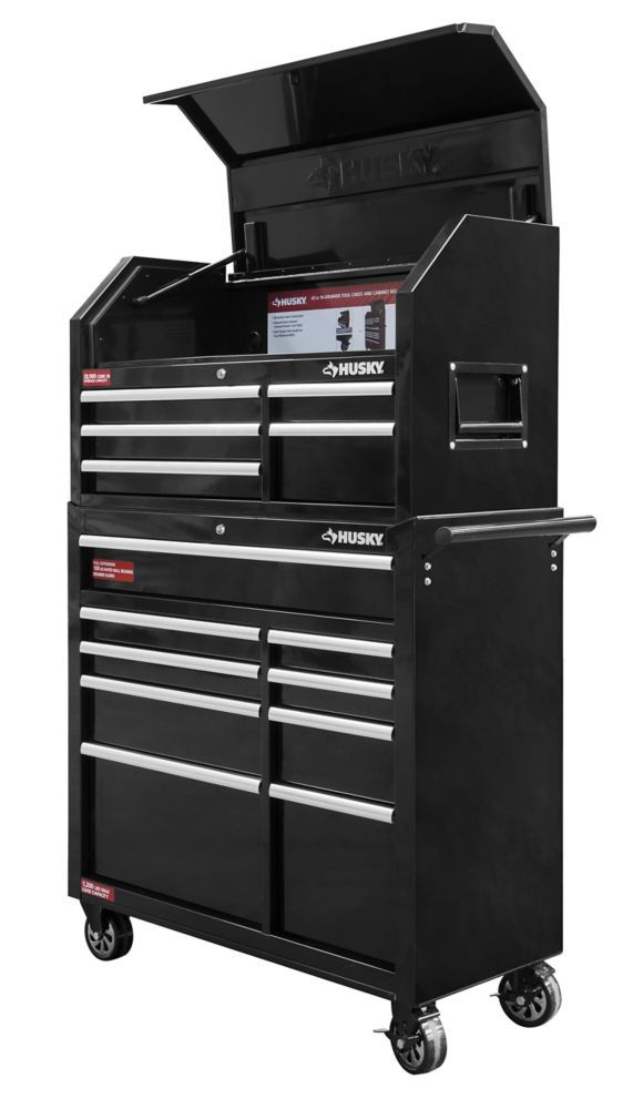 HUSKY 42-inch 14-Drawer Tool Chest and Cabinet Set in Black