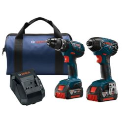 Bosch 18V Li-Ion Cordless Hammer Drill/Driver & Impact Driver Combo Kit with Two 4.0 Ah Batteries