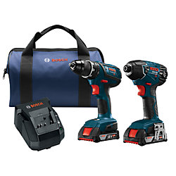Bosch 18V Li-Ion Cordless Hammer Drill/Driver & Impact Driver Combo Kit with Two 2.0 Ah Batteries