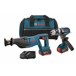 Bosch 18 V 2-Tool Kit with 1/2 Inch Brute Tough Hammer Drill/Driver and Reciprocating Saw