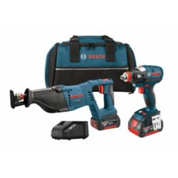 Bosch 18 V 2-Tool Kit with EC Brushles socket-Ready Impact Driver and Reciprocating Saw