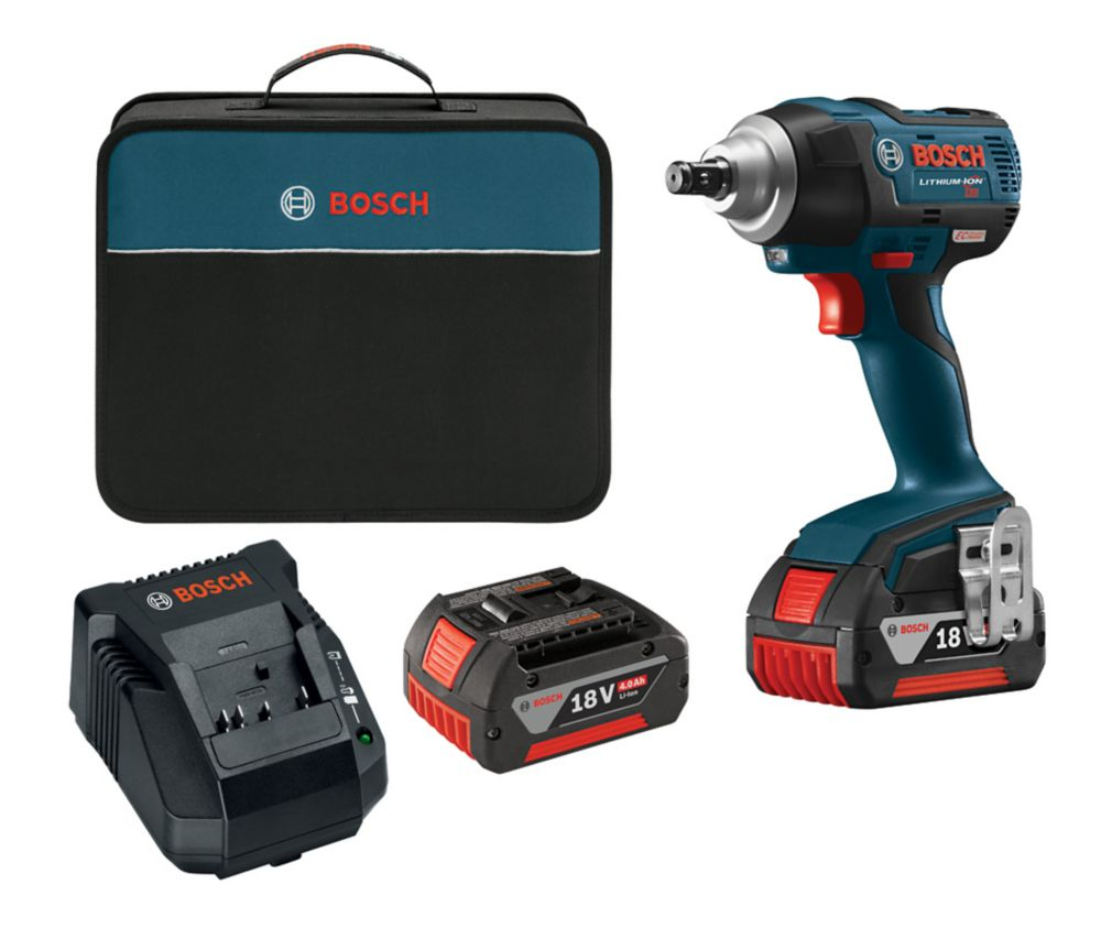 Bosch EC 18V Li-Ion Cordless 1/2-inch Ball Detent Impact Wrench with 2 Batteries & Charger