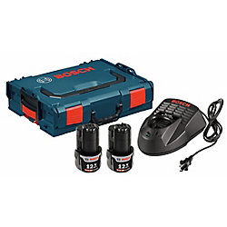 Bosch Kit de départ Lithium-Ion SlimPack de 18V avec L-BOXX-2