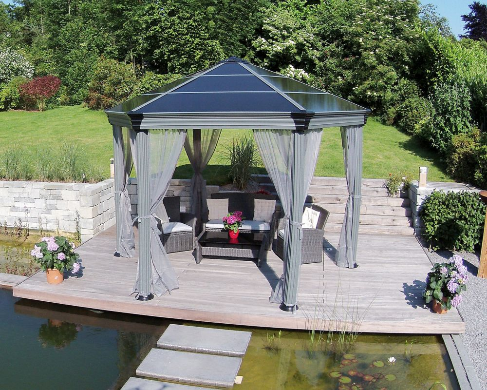 Hampton Bay Tiki 8 Ft X 5 Ft Grill Gazebo With Built In