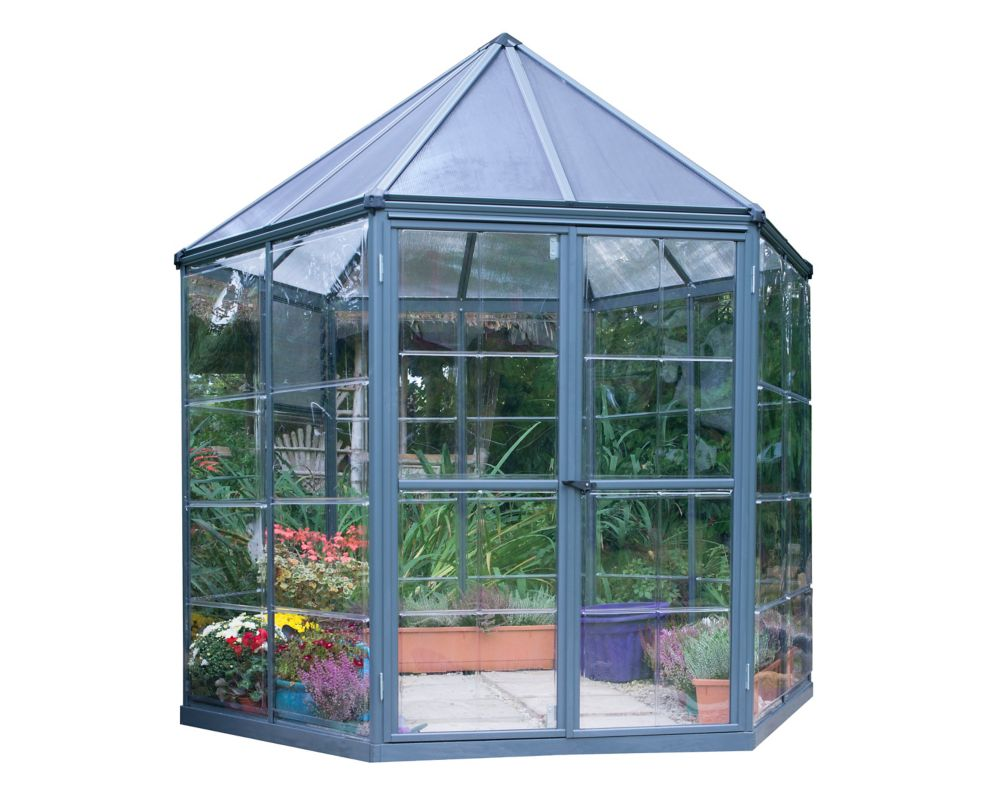 Palram Oasis 8 ft. Hexagonal Aluminum & Polycarbonate Grey Greenhouse