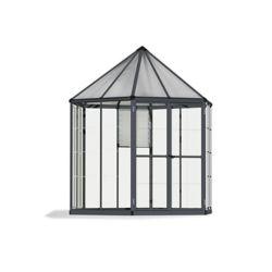 Palram Oasis 8 ft. Hexagonal Aluminum & Polycarbonate Grey Greenhouse