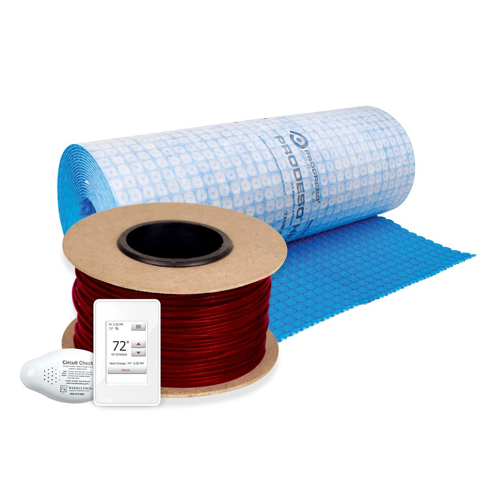 WarmlyYours Floor Heating Kit 240V-Tempzone Cable System 355 Feet + Heat Membrane & Thermostat