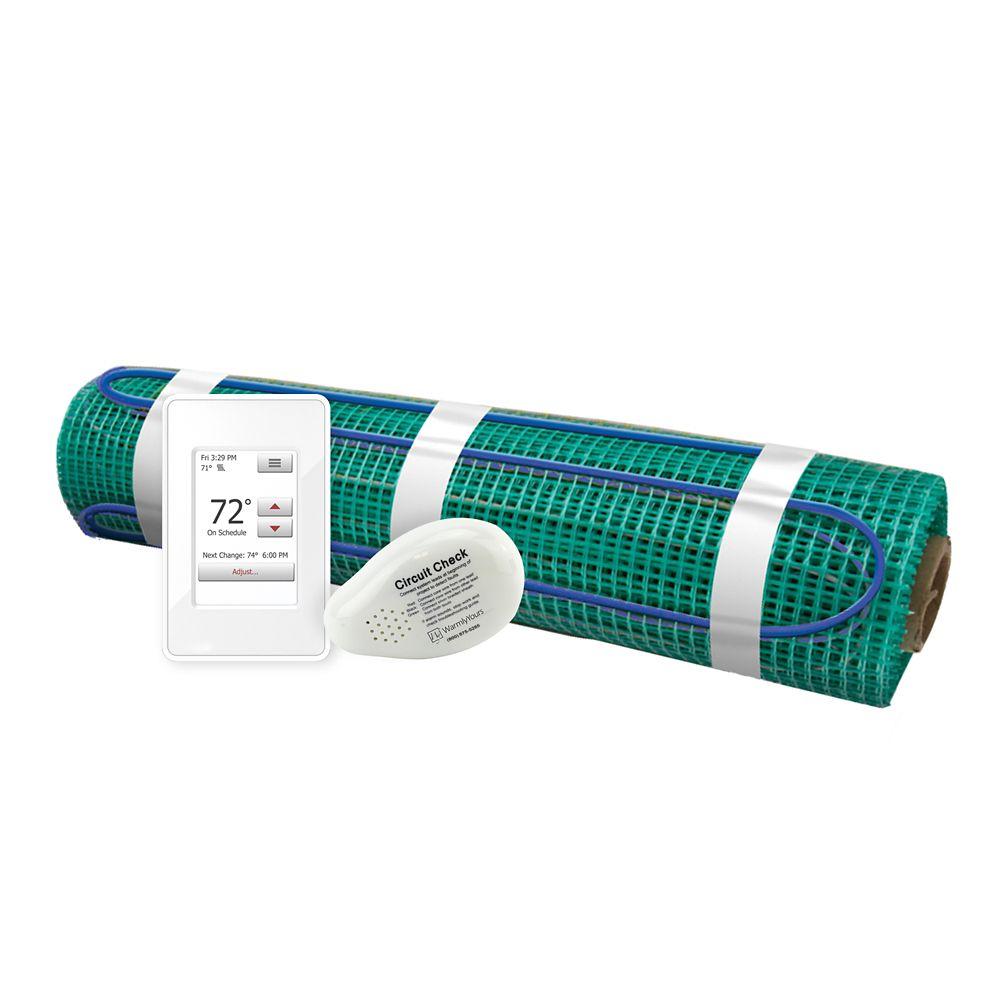 Floor Heating Kit 120V-Tempzone Flex Roll 1.5 Feet x 43 Feet + Touch Screen Thermostat