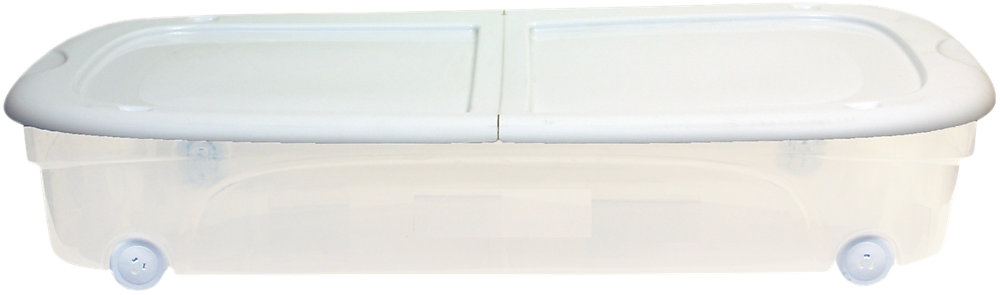 Tuff Store Clear Under Bed Box with Wheels and Latching Lid in White