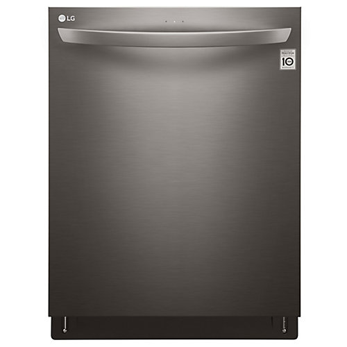 24-inch Top-Control Dishwasher with QuadWash in Black Stainless Steel