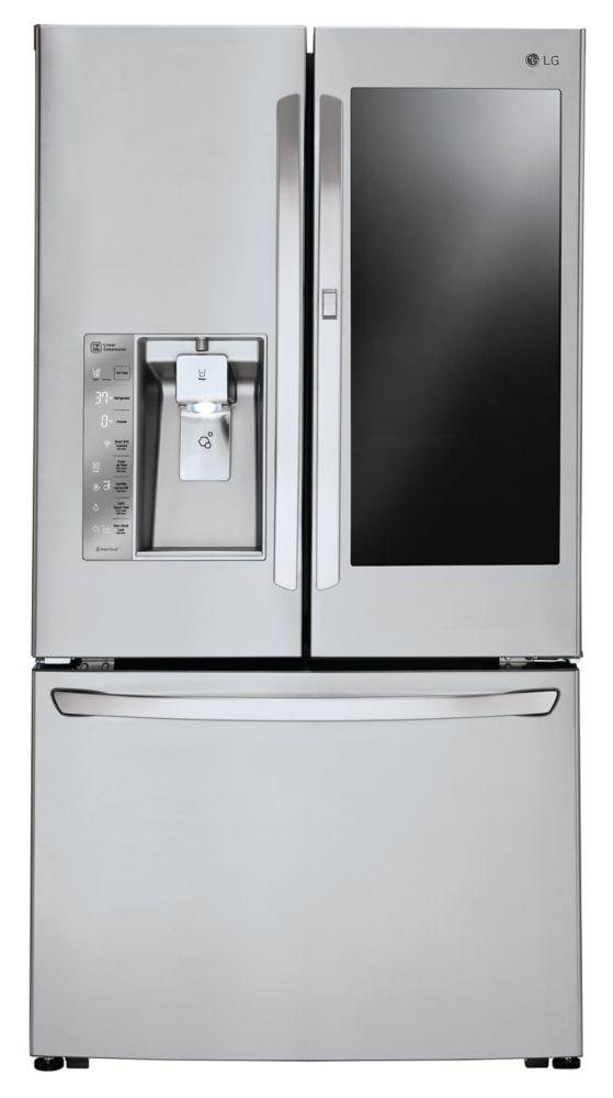 LG Electronics 24 cu. ft. 3-Door French Door Refrigerator with InstaView Door-in-Door in Stainless Steel - ENERGY STAR®